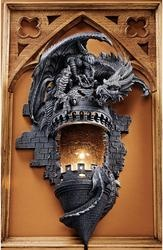 Perched atop the crumbling stone turret of a medieval castle, this fearsome dragon appears ready to take to the skies at any moment. An amazingly detailed sculpt on its own, pair two at the entryway to your own castle or line a hallway with several for a truly dramatic impact! Cast in quality designer resin and finished in gothic stone.
