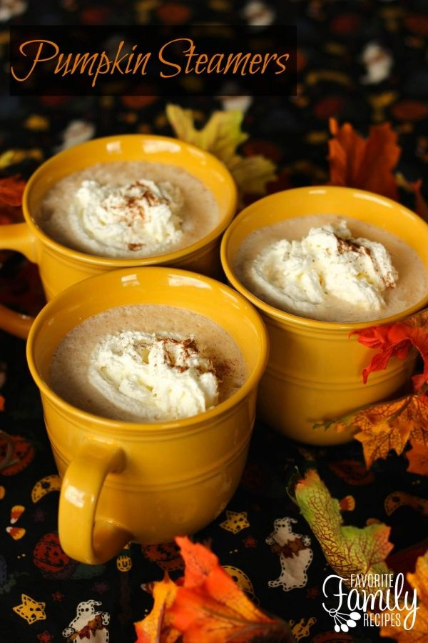 These Pumpkin Steamers have become a favorite hot drink around our house in the fall. The drink is rich and creamy with flavors of pumpkin, cinnamon, nutmeg, and ginger. It really warms you up on a cold, autumn day. via @favfamilyrecipz