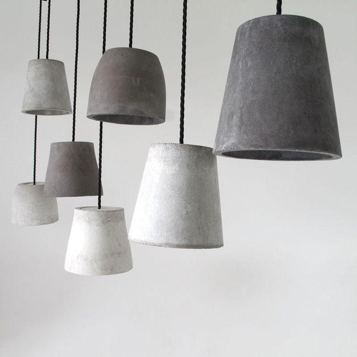 Concrete light shades designed by Chris Johnson