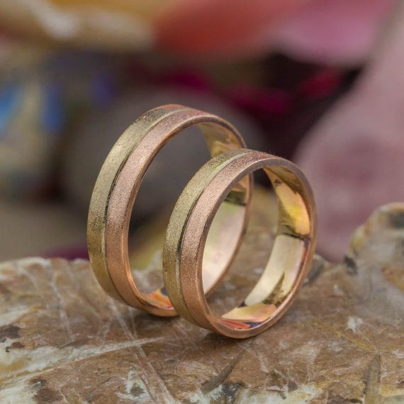 Romba - Wedding Rings - Mix Colors in 14K Rose and Yellow Gold, Gold Wedding Bands, Handmade Jewelry