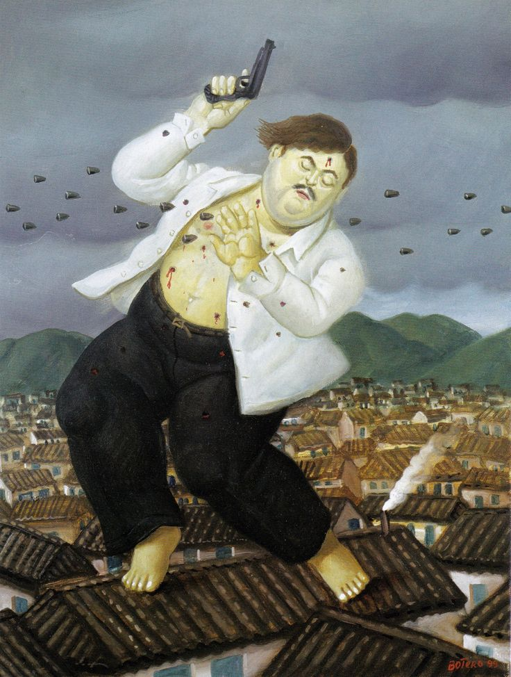 "orano:  ""Fernando Botero (1932, b.Medellin, Colombia) Death of Pablo Escobar, 1999 Oil on canvas 45,7 x 34,3 cm  """