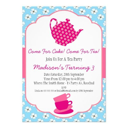 458 best tea party birthday invitations images on pinterest girls tea party birthday invitation stopboris Image collections