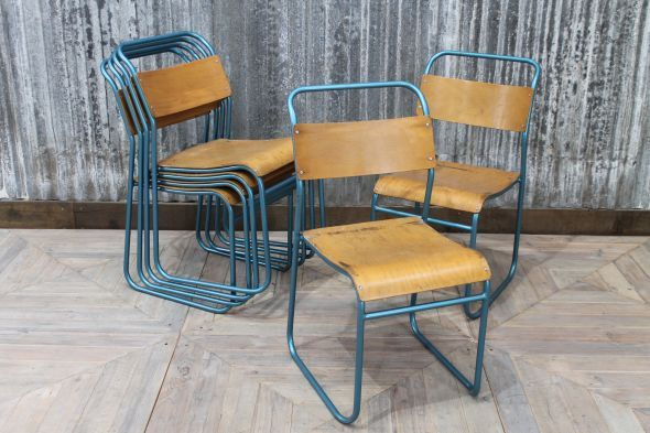 Add vintage styling to your interior with these metallic blue stacking chairs. A practical and stylish choice of seating for a bar, restaurant or bistro...