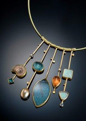 Gold Sticks necklace by Sydney Lynch. Paraiba quartz, ammonite, pearl, other gemstones and gold.