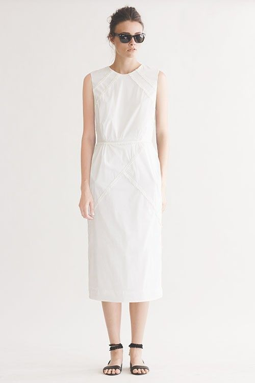 CERCETA WHITE COTTON SHIRTING GEO DRESS BY HEIDI MERRICK