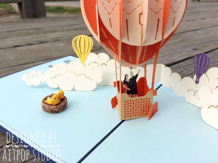 AITpop Hot Air balloon pop up card.