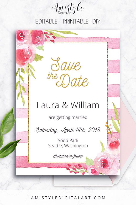 Printable save the date card - with elegant and romantic watercolor flowers and pink striped background with gold by Amistyle Digital Art on Etsy