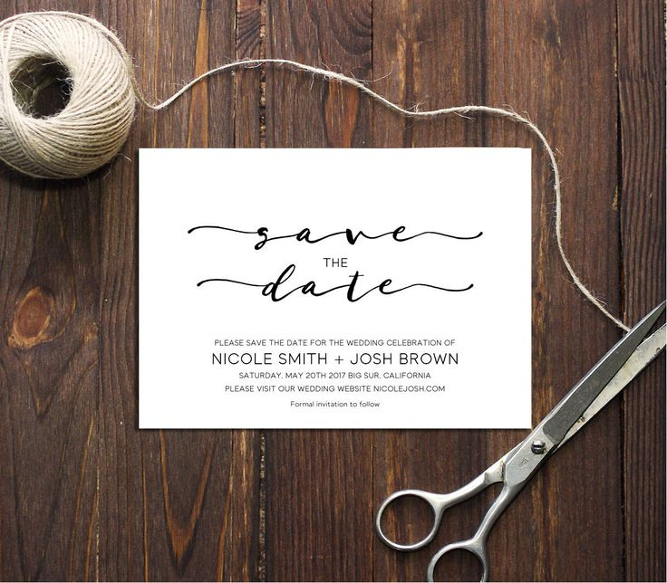 PDF Template 5x7 Save the Date INSTANT DOWNLOAD Wedding Save the date elegant calligraphic Save the date Cards Printable Digital by DreamPrintable on Etsy