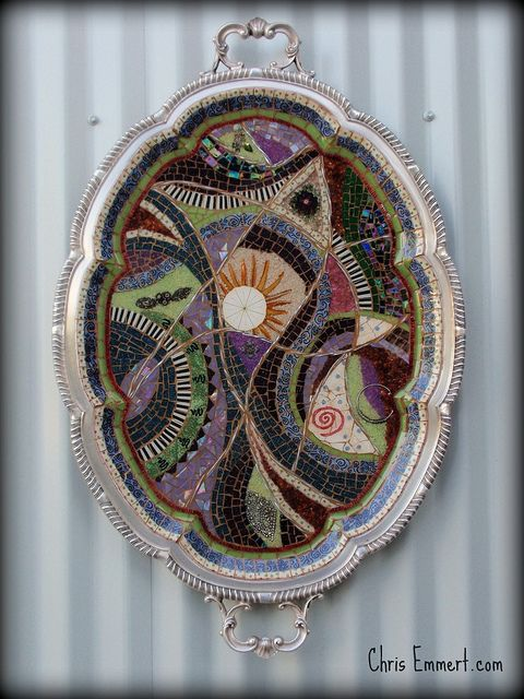mosaic in silver tray... maybe I'd use it more often!!!