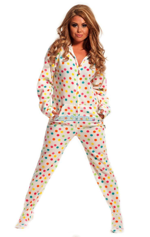 Frosty Dots Drop Seat Hoodie Pajamas Footie Pjs
