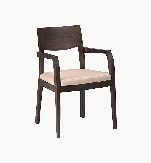 Karmstol med stoppad sits, många tyger samt träbets att välja på. Ingår i en serie med vanlig stol och barstol. Vikt 7,5 kg. Säljs i 2pack (2st). Pris anges (1st). Levereras monterad.  Tyg Lido, 100 % polyester, brandklassad. Tyg Luxury, 100 % polyester, brandklassad. Konstläder Pisa, brandklassad, 88,5% PVC, 11,5% polyester.