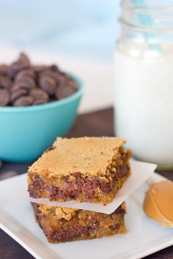 Peanut Butter Chocolate Chip (Cookie) Bars... rich, sweet, dense with peanut butter, studded with chocolate chips!