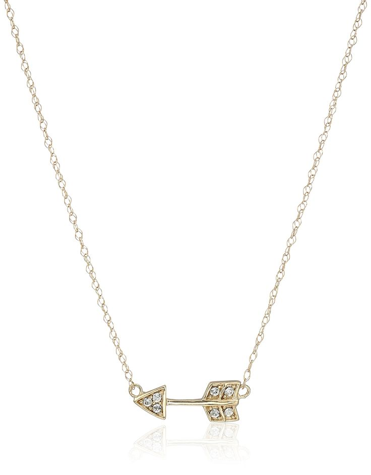"10k Yellow Gold Swarovski Crystal Arrow Necklace, 17"". Hand-polished pure 10k yellow gold; Italian gold chain."
