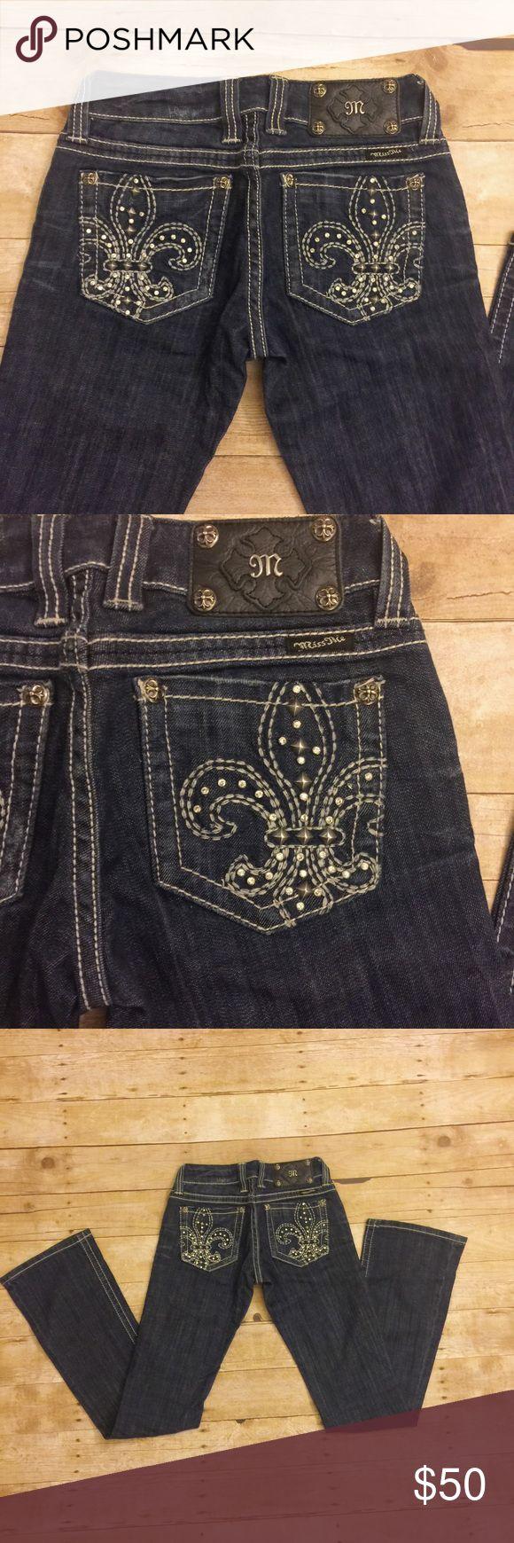 """Miss Me Fleur de Lis Jeans Miss Me boot cut low rise jeans. Inseam: 33"""" Miss Me Jeans Boot Cut"""