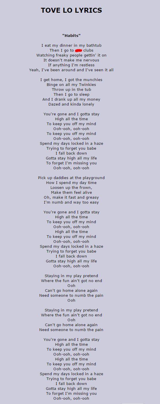 Tove Lo - Habits w/ lyrics
