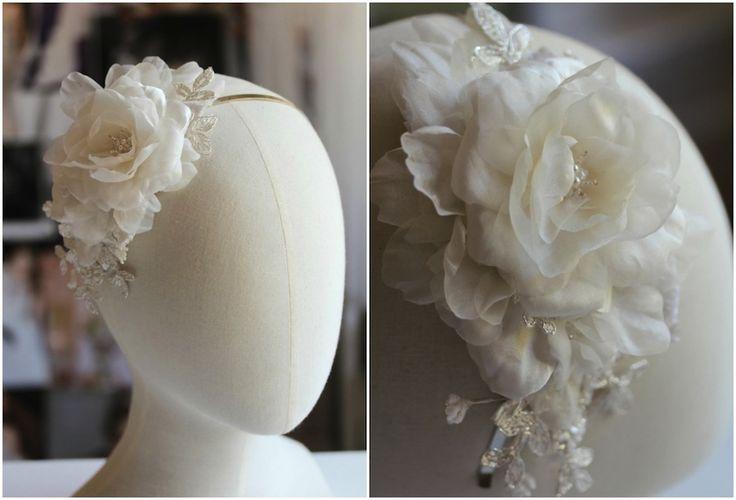 Lily silk flower headband for Nicole
