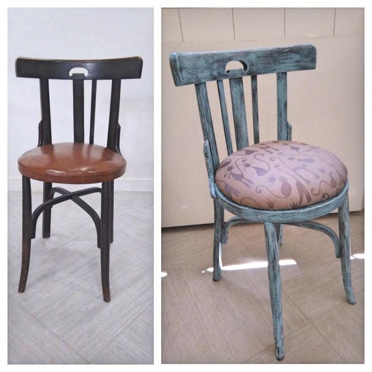 """Un trabajo realizado por Merce, alumna  del Curso de Restauracion de Muebles. La silla lleva…"""""""