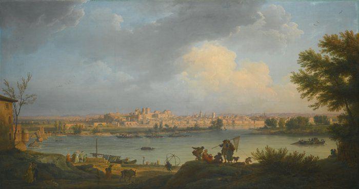 Claude-Joseph Vernet (1714-1789) Vue d'Avignon, de la rive droite du Rhône, près de Villeneuve, 1757 Huile sur toile
