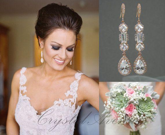 Rose Gold Bridal Earrings Wedding Jewelry Long Julienne