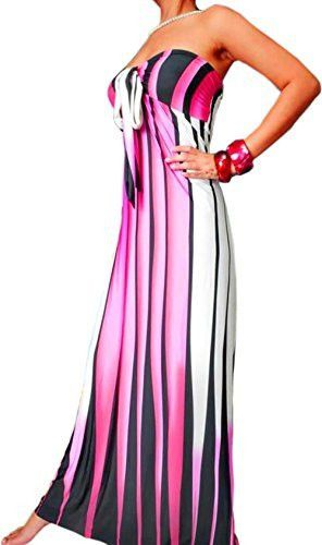 Graphic Stripe Maxi Tube Dress Halter or Strapless Sundress