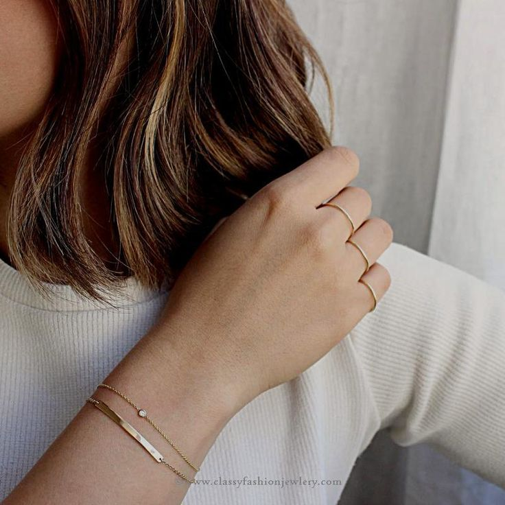 Thin gold chain bracelets - Thin gold stackable bracelets - Stackable gold bracelets