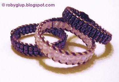 RobyGiup Handmade: Tris di anelli in perline viola - Three rings in purple beads #ring #purple #beads
