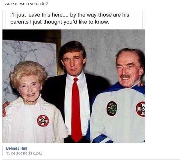 Os pais de Donald Trump eram membros da Ku Klux Klan? | E-farsas.com  Desvendando farsas da web desde 2002!   Foto mostra o presidente dos Estados Unidos ainda jovem ao lado dos pais  que estão usando roupas da Ku Klux Klan! Será que isso é verdade ou farsa?  A imagem não é nova! Já circulou emsetembro de 2016e voltou a fazer sucesso nas redes sociais nasegunda quinzena de agosto de 2017. Nela podemos ver o ainda jovem Donald Trump ao lado dos pais quevestem o manto da Ku Klux Klan uma…