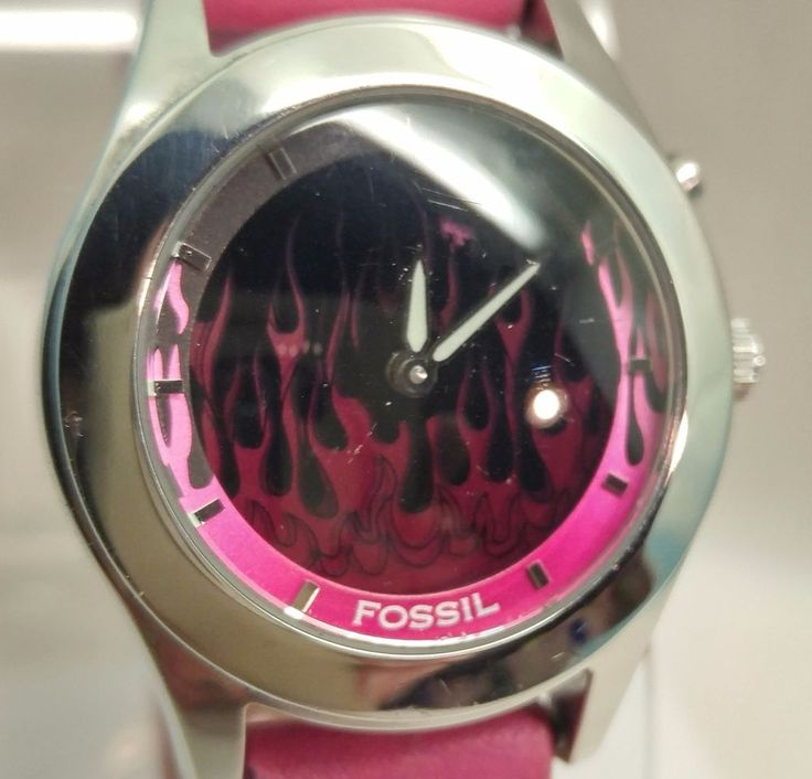 Fossil Big Tic Pink Animated Flames JR-8265 Original Leather Band Water Resist $34.00 #Fossil www.iiwiiMerchandise.com