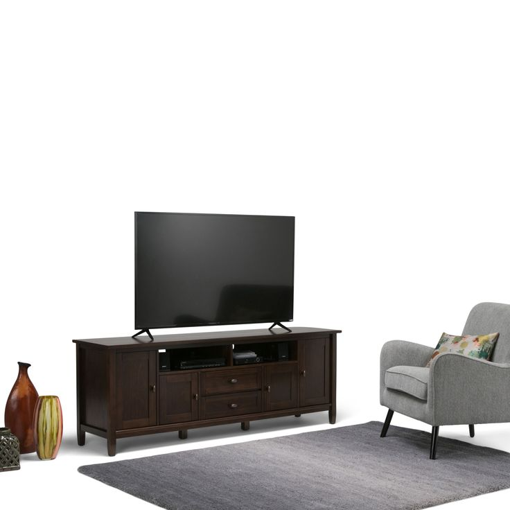 Wyndenhall Norfolk 72 inch TV Stand for TVs up to 80 inches (Tobacco Brown)