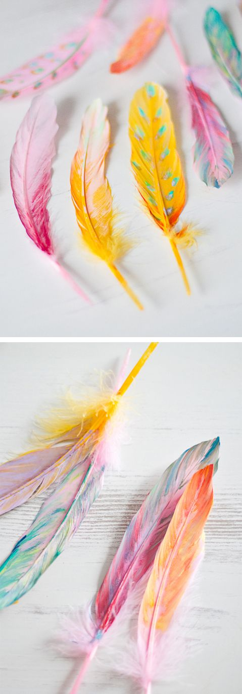 DIY painted feathers                                                       …