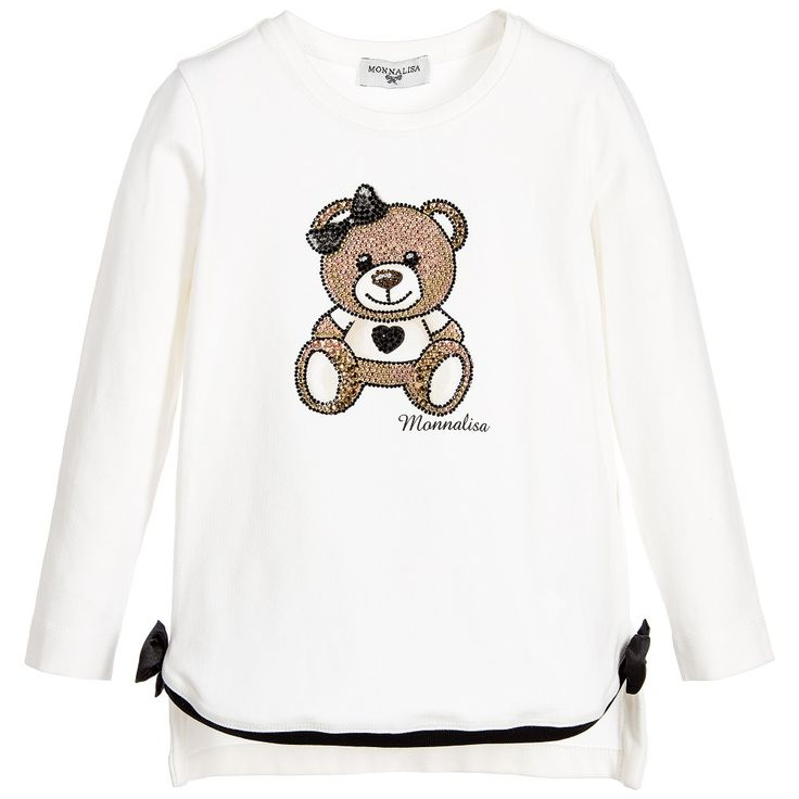 Girls Cotton Jersey Teddy T-Shirt with Diamanté