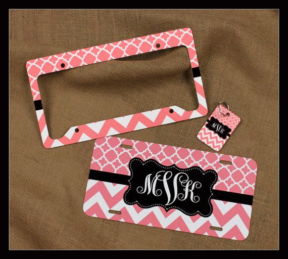 Gift Set Front License Plate Frame  Key Chain  by ChicMonogram, $60.00