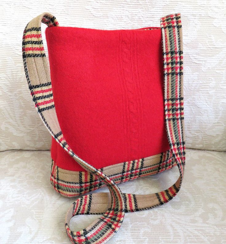 https://flic.kr/p/qhpFky   James shoulder bag   red sweater wool and woven wool…