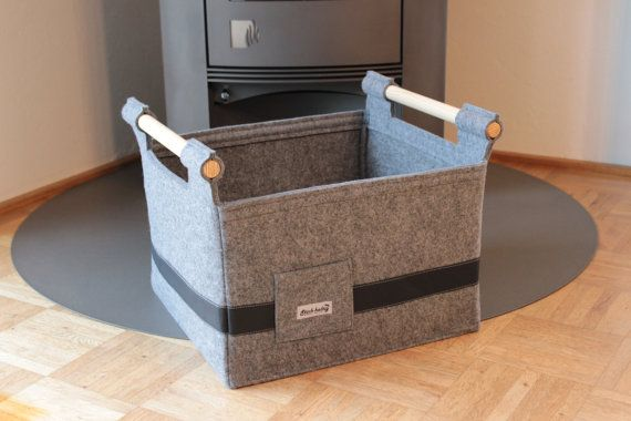 Felt Basket Storage Box with Leather and wooden by technikdesigncm