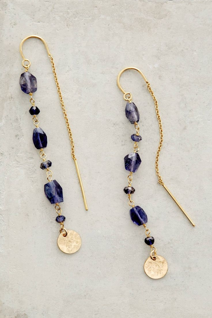 at anthropologie Threaded Coin Earrings in violet