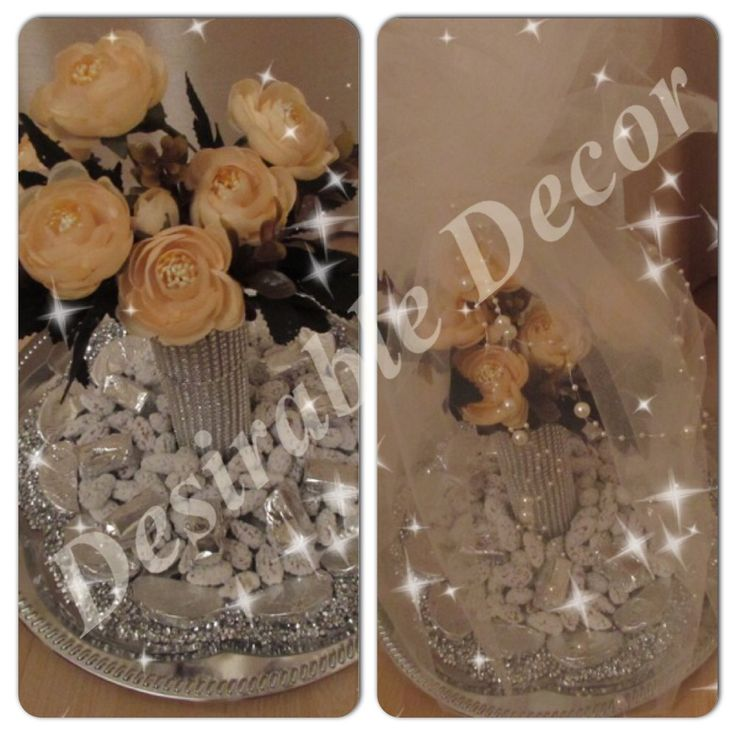Elegant silver and peach theme engagement tray filled with assorted sweets.