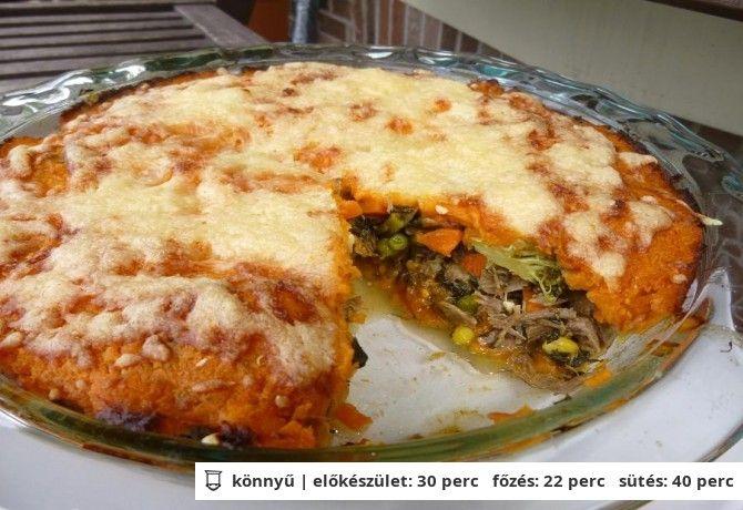 Ludas pite Fetás-batátapürében zöldséges hús