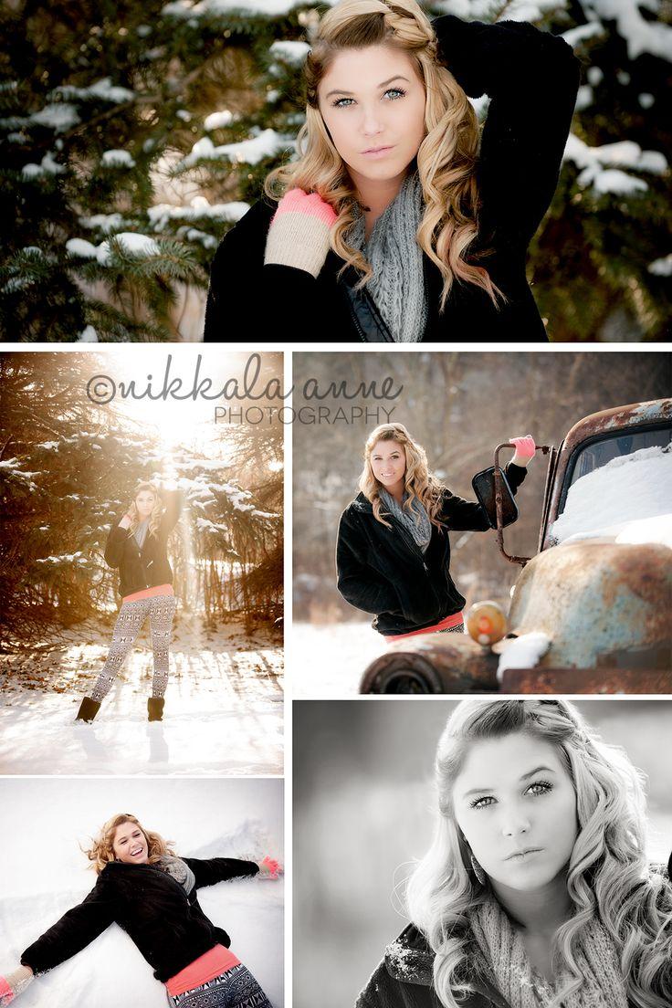 Ciara | Fall and Snow Senior | Nikkala Anne Photography senior girl photo session photography inspiration snow truck fun