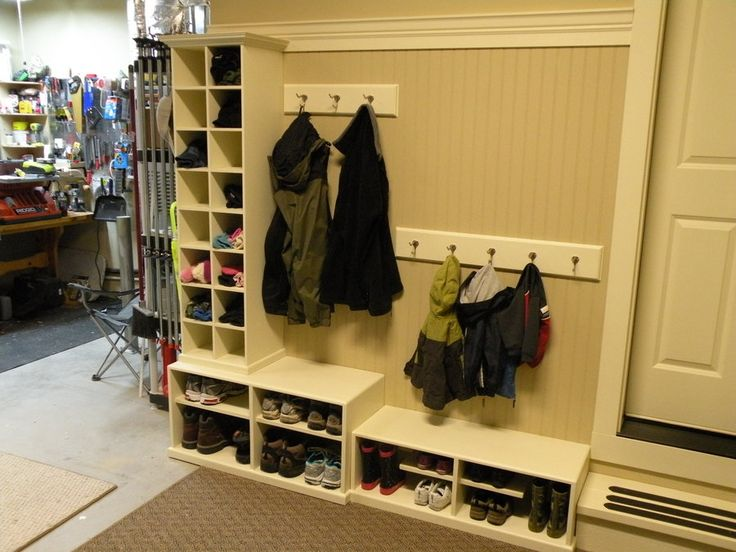 "DIY ""mudroom"" in garage. I am pinning this but it will probably never happen. Our garage is way too messy! This would take a major overhaul"