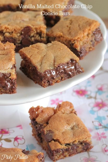 Vanilla Malted Chocolate Chip Cookie Bars complete with oozing chocolate :)