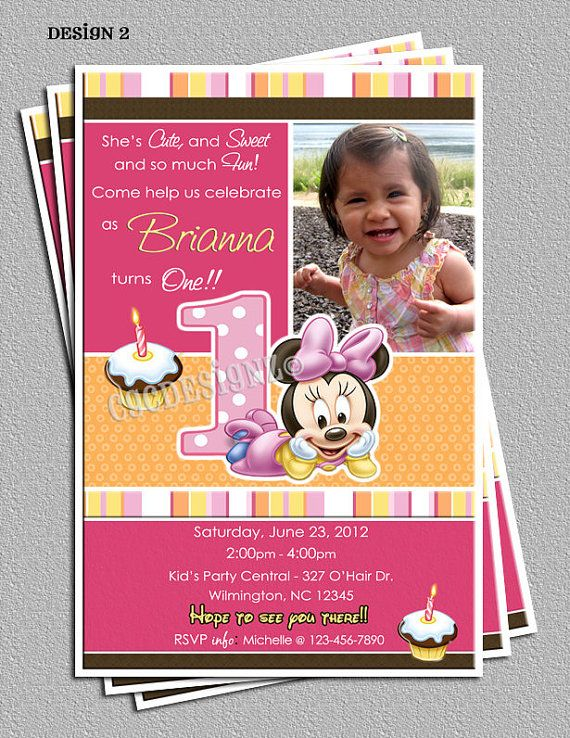 36 best Lilyu0027s first birthday! images on Pinterest Minnie mouse - fresh invitation card for first birthday of baby girl