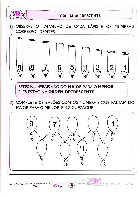 40 Atividades Ordem Crescente E Decrescente Para Imprimir Com