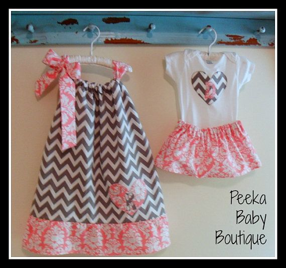 Coordinating Sister Outfit  in grey chevron by PeekaBabyBoutique, $42.00 Ell & her sister