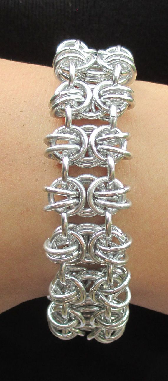 Silver Anodized Aluminum Chainmaille Bracelet - cool weave!