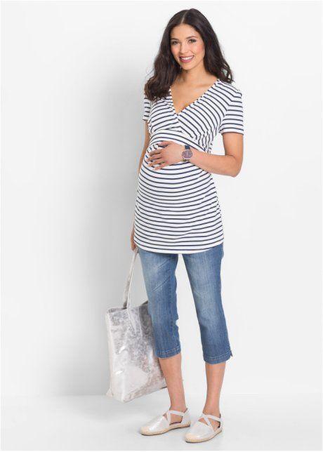 Těhotenské triko s možností kojení s výstřihem do V a krátkým rukávem, bpc bonprix collection, přírodní bílo-tmavě modrá