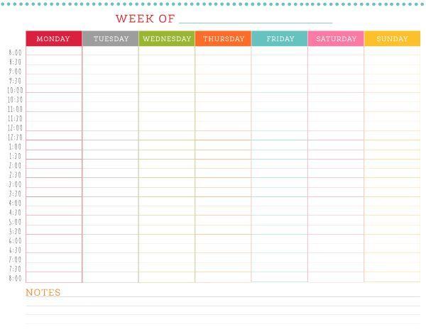 free printable weekly schedule