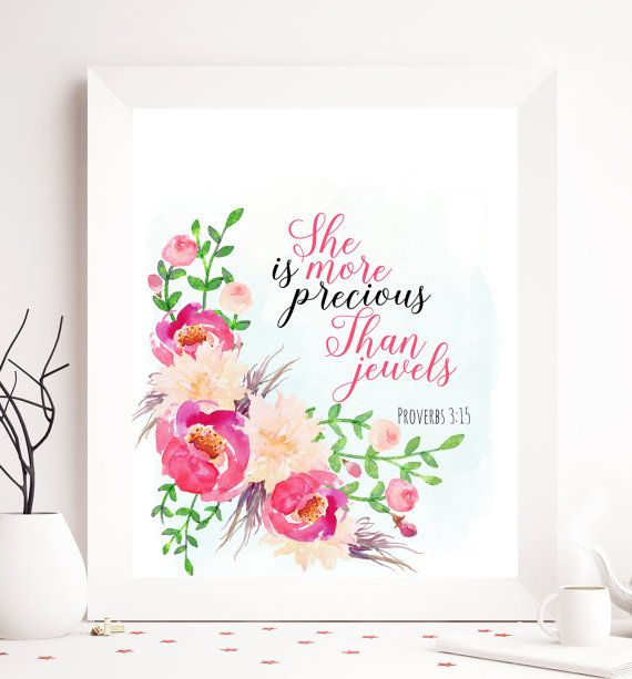 $5 Proverb 3:15 Bible Proverb Printable She's more by SoulPrintables