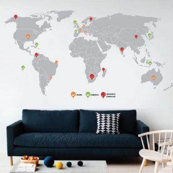 Adesivo de Parede Mapa Mundi Cinza Grudado Adesivos