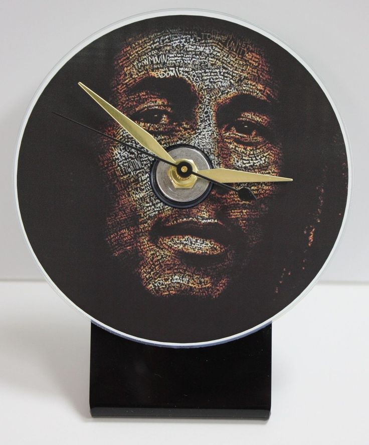 Bob Marley Picture Cd Desk Clock With Black Acrylic Base