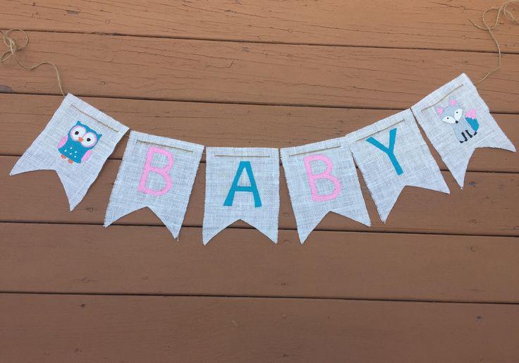Woodland Baby Banner - Woodland Nursery - Owl Banner - Fox Banner - Woodland Girl - Girl Owl Banner by 3BlessingsBurlap on Etsy